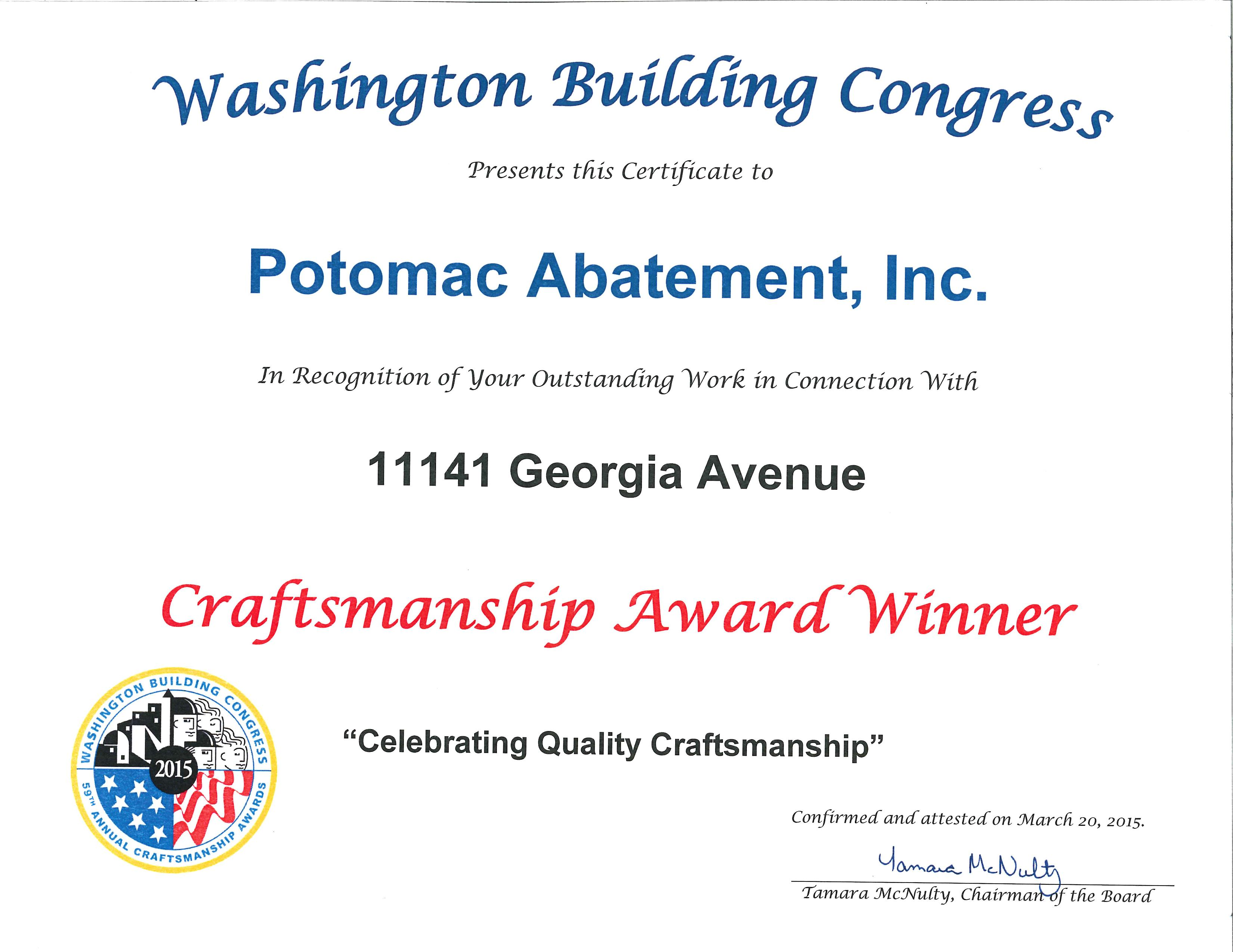 Washington Building Congress craftsmanship award